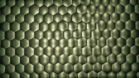 Abstract pale green hexagon background with metal texture. Polygonal surface. Futuristic technology concept. Hex geometry pattern. 3D Rendering. Archivio Fotografico - 136333018