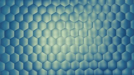 Abstract blue hexagon background with metal texture. Polygonal surface. Futuristic technology concept. Hex geometry pattern. 3D Rendering. Archivio Fotografico - 136333019