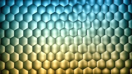 Abstract blue and yellow gradient hexagon background with metal texture. Polygonal surface. Futuristic technology concept. Hex geometry pattern. 3D Rendering. Archivio Fotografico - 136333021