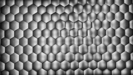 Abstract silver hexagon background with metal texture. Polygonal surface. Futuristic technology concept. Hex geometry pattern. 3D Rendering. Archivio Fotografico - 136155713