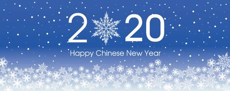 2020 Happy Chinese New Year card template. Design patern snowflakes white and classic blue color of 2020 year.
