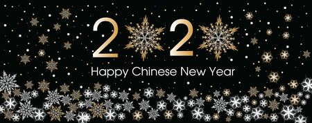 2020 Happy Chinese New Year card template. Design patern snowflakes white, gold and black color.