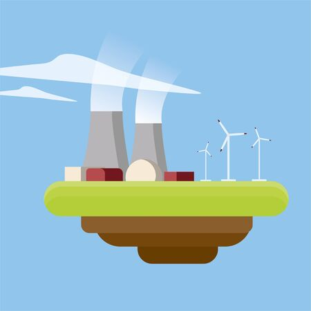 Energy or power generation sources. Nuclear power plant and wind turbines. Simple flat illustration. Ilustrace