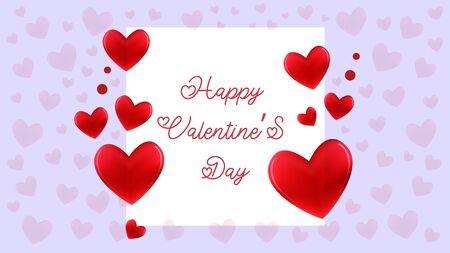 Happy Valentines day card. Hearts concept. Romantic composition. Vector illustration. Archivio Fotografico - 139099793