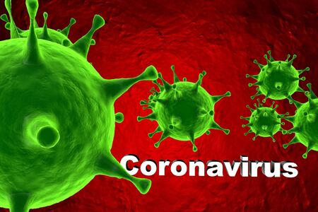 Coronavirus danger and public health risk disease. 3D Rendering of virus outbreak and coronaviruses influenza background. Pandemic medical health risk concept. Archivio Fotografico - 139103530