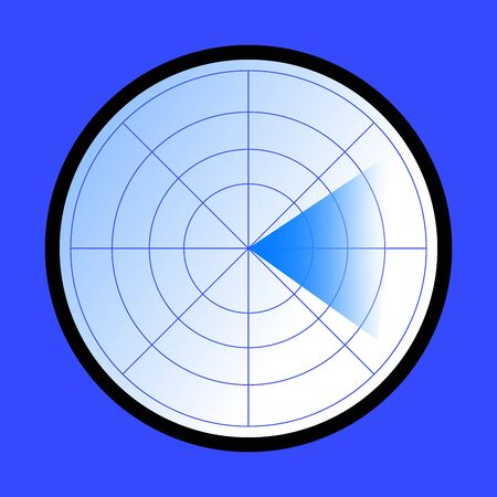 White and blue gradient radar icon on blue background.