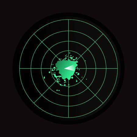 Green and black radar icon on black background.