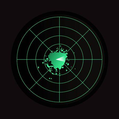 Icône radar vert et noir sur fond noir.