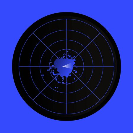 Black and blue radar icon on blue background. Archivio Fotografico - 140363391
