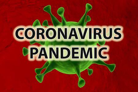 Coronavirus Pandemic. Covid-19. Green virus on red background. Archivio Fotografico - 142055318