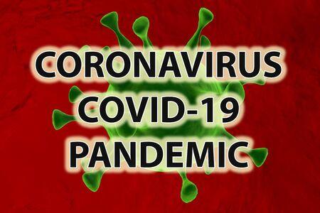 Coronavirus Pandemic. Covid-19. Green virus on red background. Archivio Fotografico - 142055321
