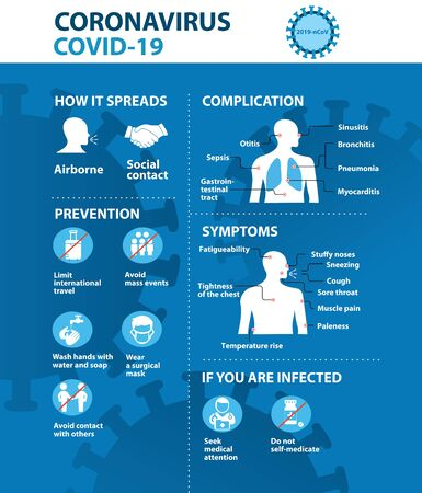 Coronavirus 2019-nCoV prevention tips, how to prevent coronavirus. Infographic elements. Pneumonia disease. Blue background. Archivio Fotografico - 142752789