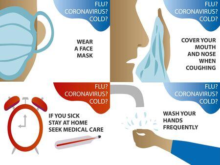 2019-nCoV Coronavirus, Flu and Cold Prevention. Infographic elements. Protective measures. Pneumonia disease. Archivio Fotografico - 142752797