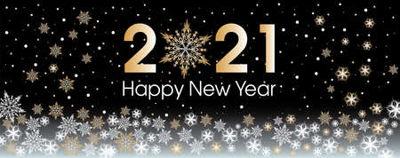 2021 Happy New Year template with gold and white snowflakes and stars on background. Vettoriali