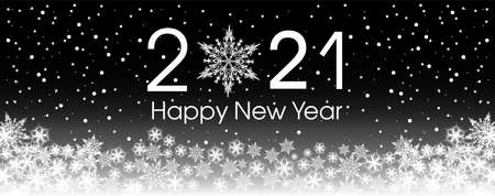 2021 Happy New Year card template. Design pattern snowflakes white and black color.