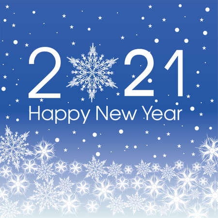 2021 Happy New Year card template. Design patern snowflakes white and classic blue color.