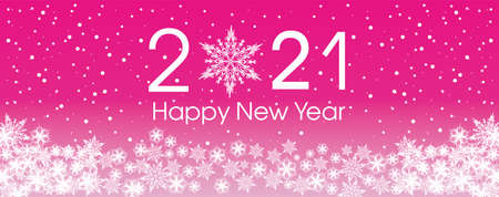 2021 Happy New Year card template. Design patern snowflakes white and purple color.