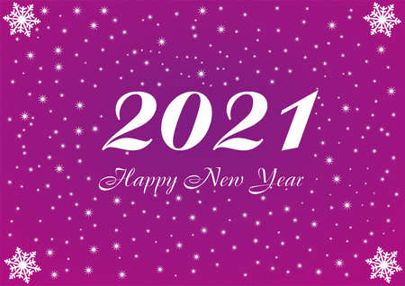 2021 Happy New Year violet background with white stars and snowflakes for your Seasonal Flyers and Greetings Card or Christmas. Vettoriali