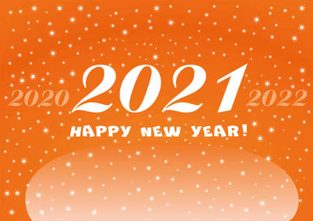 2021 Happy New Year orange background with white stars and snowflakes for your Seasonal Flyers Christmas. Vettoriali