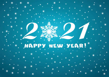 2021 Happy New Year blue background with white stars and snowflakes for your Seasonal Flyers or Christmas.