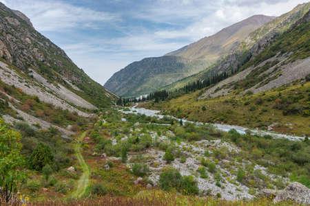 Mountain landscape view in Kyrgyzstan. Green grass in mountain valley view. Mountain panorama. Kyrgyz Alatoo mountains, Tian-Shan, Ala-archa, Kyrgyzstan. Archivio Fotografico - 155358990