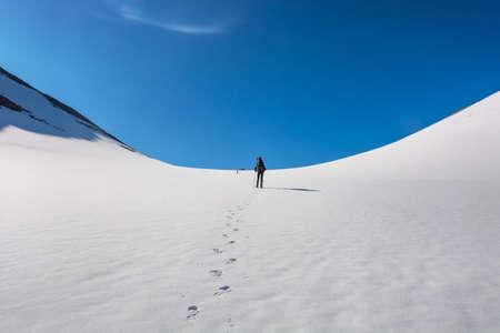 Mountain landscape view in Kyrgyzstan. Rocks, snow and stones in mountain valley view. Mountain panorama. Kyrgyz Alatoo mountains, Tian-Shan, Ala-archa, Kyrgyzstan. Archivio Fotografico - 155359468