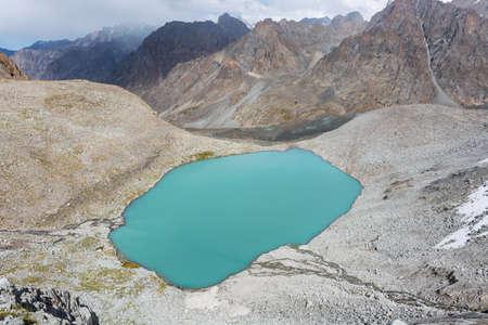 Wonderful mountain landscape (lake, highland, peak, beauty world) Picturesque view near Ala-archa in Kyrgyz Alatoo mountains, Tian-Shan, Karakol, Kyrgyzstan.