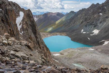 Wonderful mountain landscape (lake, highland, peak, beauty world) Picturesque view near Ala-archa in Kyrgyz Alatoo mountains, Tian-Shan, Karakol, Kyrgyzstan. Archivio Fotografico - 155468623