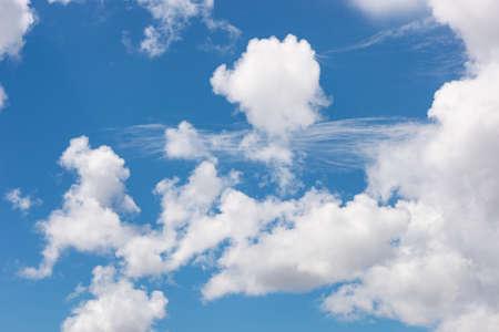 Beautiful blue sky with cloud close up. Kyrgyzstan.