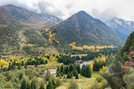 Mountain landscape view in Kyrgyzstan. Rocks, yellow and green trees in mountain valley view. Fall mountain panorama.