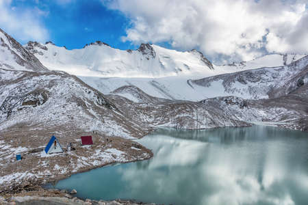Wonderful mountain landscape (lake, highland, peak, beauty world) Picturesque view in Kyrgyz Alatoo mountains