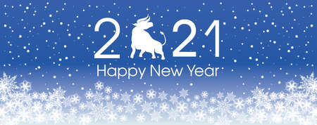 2021 Happy New Year card template. Design patern snowflakes white. Archivio Fotografico - 159587100