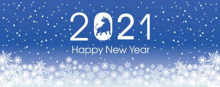 2021 Happy New Year card template. Design patern snowflakes white. Archivio Fotografico - 159587102