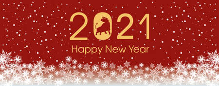 2021 Happy New Year card template. Design patern snowflakes white, ox. Archivio Fotografico - 159587103