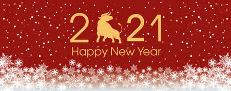 2021 Happy New Year card template. Design patern snowflakes white, ox.