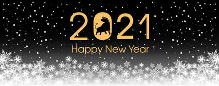 2021 Happy New Year card template. Design patern snowflakes white, ox. Archivio Fotografico - 159586873