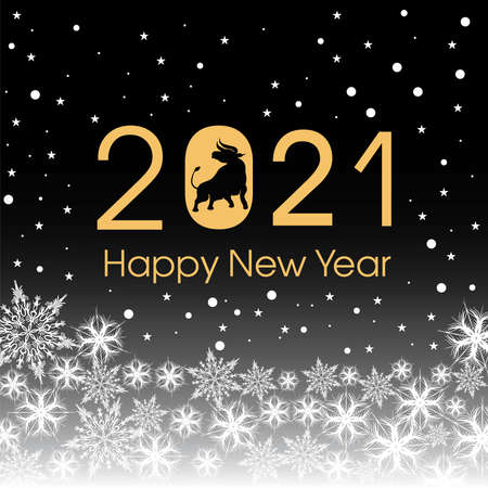 2021 Happy New Year card template. Design patern snowflakes white, ox. Archivio Fotografico - 159586872