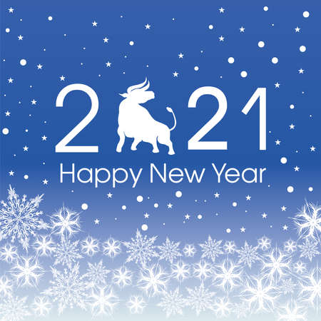 2021 Happy New Year card template. Design patern snowflakes white.