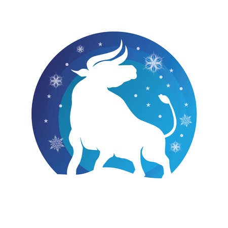 Bull New Year. Happy New Year. Chinese zodiac symbol of new 2021 year. Bull, ox, cow.