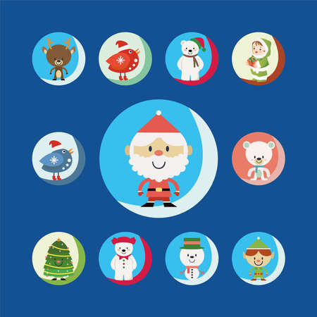 Christmas cartoons clip art set. Cute characters of the holiday symbols. Isolated on blue background. Vettoriali