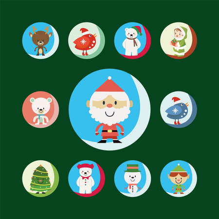 Christmas cartoons clip art set. Cute characters of the holiday symbols – Christmas tree, presents, bird, bear, elf, snowman and Santa. Isolated on green background.