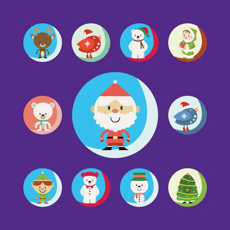 Christmas cartoons clip art set. Cute characters of the holiday symbols – Christmas tree, presents, bird, bear, elf, snowman and Santa. Isolated on violet background.