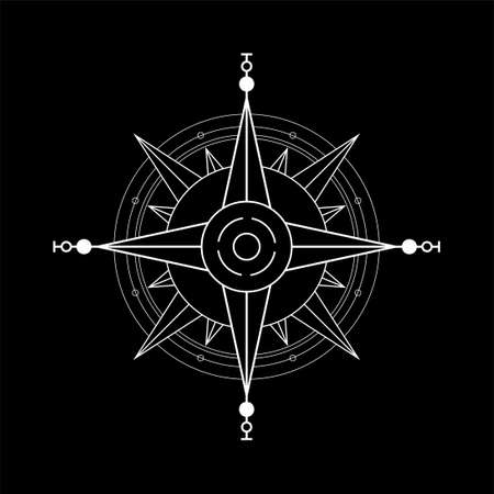 Abstract illustration of compass rose icon on black background.