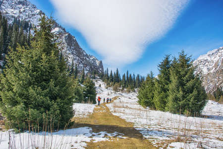 Idyllic winter landscape with hiking trail in the mountains. Mountain panorama with firs, snow and clouds. .