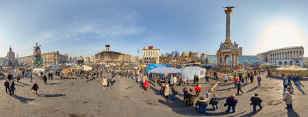 maidan: Panoramic picture of Kiev. Ukraine. Maidan. Revolution. February 2014