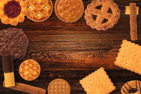 Assorted different mini cakes. Waffles and Biscuits - Cookies3