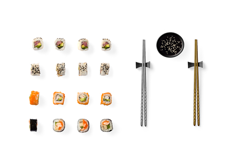 Set of Japanese sushi isolated on white background. Top view 版權商用圖片