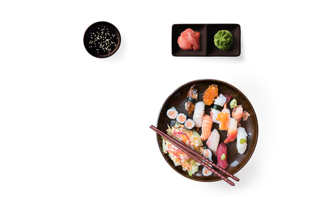 Lunch with sushi dish isolated on white background