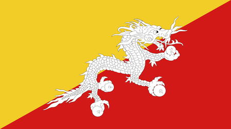 Vector of amazing Bhutan. Nationals flags of world country turning