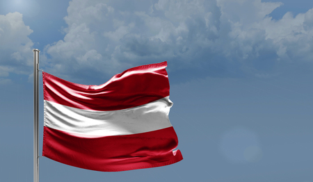 Flag of Austria on cloudy sky